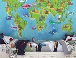 Μικρός παγκόσμιος χάρτης Παιδικά Ταπετσαρίες Τοίχου 100 x 100 εκ.