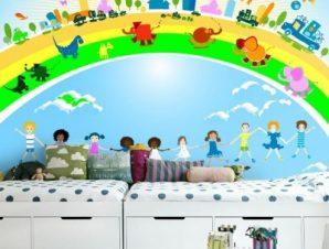 Παιδιά, αυτοκίνητα και ζώα Παιδικά Ταπετσαρίες Τοίχου 85 x 120 cm