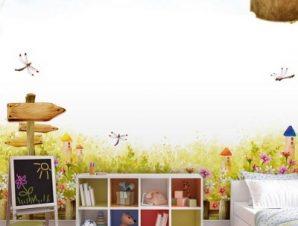 Λουλουδένιο τοπίο Παιδικά Ταπετσαρίες Τοίχου 89 x 110 cm