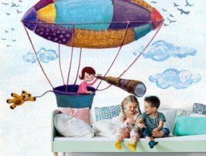 Παιδάκι σε αερόστατο Παιδικά Ταπετσαρίες Τοίχου 84 x 115 cm
