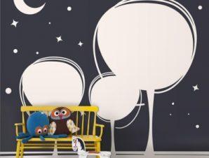 Δέντρα τη νύχτα Παιδικά Ταπετσαρίες Τοίχου 110 x 85 cm