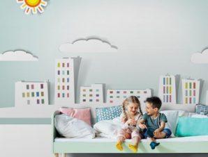 Άσπρη πόλη Παιδικά Ταπετσαρίες Τοίχου 100 x 100 εκ.
