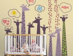 Καμηλοπαρδάλεις Παιδικά Ταπετσαρίες Τοίχου 100 x 100 cm