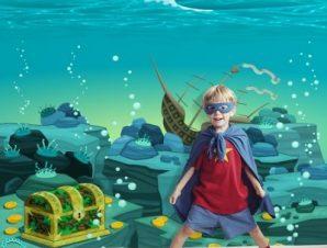 Θησαυρός στον ωκεανό Παιδικά Ταπετσαρίες Τοίχου 100 x 100 cm