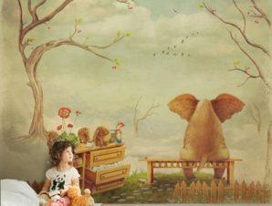 Στοχαστικό ελεφαντάκι Παιδικά Ταπετσαρίες Τοίχου 100 x 100 εκ.