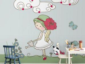 Κοριτσάκι ποτίζει λουλούδια Παιδικά Ταπετσαρίες Τοίχου 100 x 100 cm