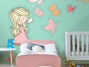 Κοριτσάκι με πεταλούδες Παιδικά Ταπετσαρίες Τοίχου 100 x 100 εκ.