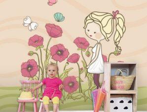 Κοριτσάκι με λουλούδια Παιδικά Ταπετσαρίες Τοίχου 100 x 100 εκ.