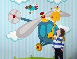 Καμηλοπάρδαλη σε ελικόπτερο Παιδικά Ταπετσαρίες Τοίχου 100 x 100 cm