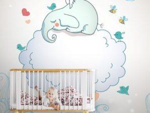 Κοιμισμένο ελεφαντάκι Παιδικά Ταπετσαρίες Τοίχου 100 x 100 cm