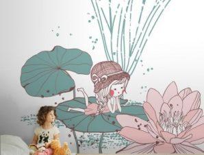 Κοριτσάκι σε νούφαρο Παιδικά Ταπετσαρίες Τοίχου 100 x 100 cm