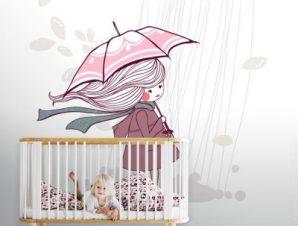 Κοριτσάκι στη βροχή Παιδικά Ταπετσαρίες Τοίχου 100 x 100 εκ.