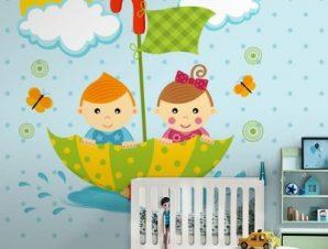 Παιδάκια μέσα σε ομπρέλα Παιδικά Ταπετσαρίες Τοίχου 100 x 100 cm