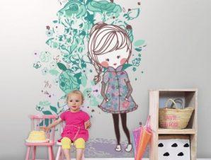 Κορίτσι με παλτό Παιδικά Ταπετσαρίες Τοίχου 100 x 100 cm
