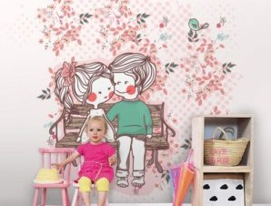 Ζευγαράκι σε παγκάκι Παιδικά Ταπετσαρίες Τοίχου 100 x 100 cm