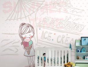Κοριτσάκι με παγωτό Παιδικά Ταπετσαρίες Τοίχου 100 x 100 cm