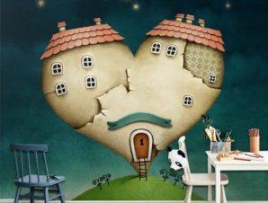 Σπίτι σε σχήμα καρδιάς Παιδικά Ταπετσαρίες Τοίχου 100 x 100 εκ.