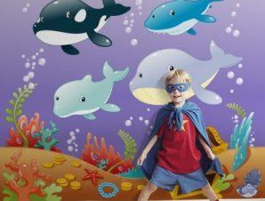 Βυθός της θάλασσας Παιδικά Ταπετσαρίες Τοίχου 100 x 100 cm