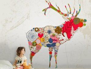Τάρανδος ρετρό Παιδικά Ταπετσαρίες Τοίχου 100 x 100 εκ.