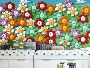 Φόντο χαρούμενα λουλούδια Παιδικά Ταπετσαρίες Τοίχου 100 x 100 εκ.