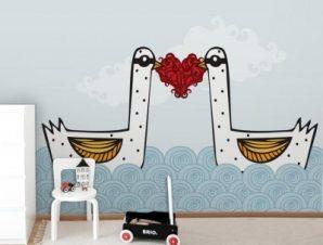 Ερωτευμένοι κύκνοι Παιδικά Ταπετσαρίες Τοίχου 85 x 120 cm