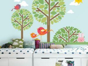 Πάρκο με πουλιά Παιδικά Ταπετσαρίες Τοίχου 85 x 120 cm