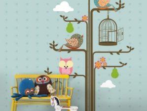Πουλιά σε κλαδιά δέντρου Παιδικά Ταπετσαρίες Τοίχου 100 x 100 εκ.