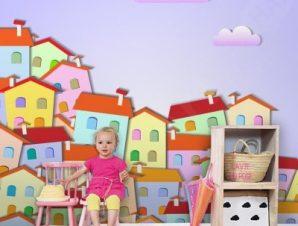 Πολύχρωμη μικρή πόλη Παιδικά Ταπετσαρίες Τοίχου 100 x 100 εκ.