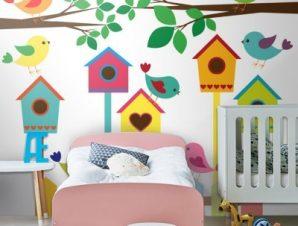 Πολύχρωμα κλουβιά πουλιών Παιδικά Ταπετσαρίες Τοίχου 100 x 100 cm
