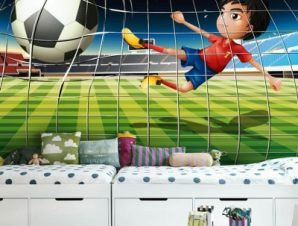 Γήπεδο ποδοσφαίρου Παιδικά Ταπετσαρίες Τοίχου 86 x 125 cm
