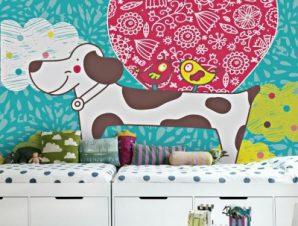 Χαριτωμένο σκυλάκι Παιδικά Ταπετσαρίες Τοίχου 100 x 100 εκ.
