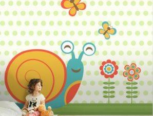 Χαρούμενο σαλιγκάρι Παιδικά Ταπετσαρίες Τοίχου 100 x 100 εκ.