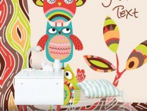 Κουκουβάγιες με μοτίβα Παιδικά Ταπετσαρίες Τοίχου 100 x 100 cm