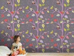 Κουκουβάγιες σε δέντρα Παιδικά Ταπετσαρίες Τοίχου 100 x 100 cm