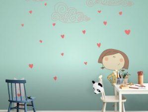 Καρδούλες και συννεφάκια Παιδικά Ταπετσαρίες Τοίχου 100 x 100 cm