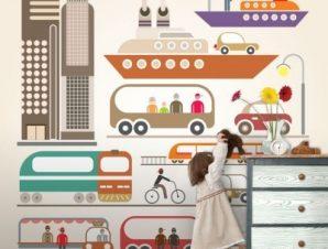 Μοντέρνα πόλη Παιδικά Ταπετσαρίες Τοίχου 100 x 100 εκ.