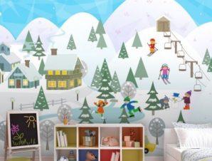 Παιχνίδι στο χιόνι Παιδικά Ταπετσαρίες Τοίχου 85 x 125 cm