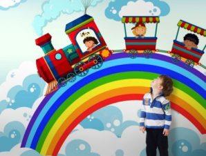 Τρενάκι και ουράνιο τόξο Παιδικά Ταπετσαρίες Τοίχου 100 x 100 εκ.