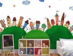 Παραμυθένια πόλη σε λόφους Παιδικά Ταπετσαρίες Τοίχου 100 x 100 εκ.