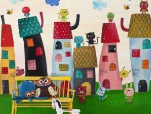 Χωριό με ζωάκια Παιδικά Ταπετσαρίες Τοίχου 94 x 110 cm