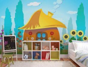 Στρουμφόσπιτο σε εξοχή Παιδικά Ταπετσαρίες Τοίχου 100 x 100 εκ.