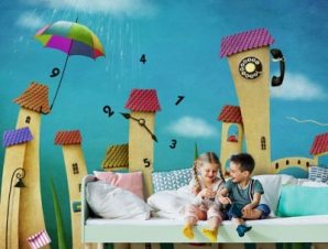 Πόλη των ρολογιών Παιδικά Ταπετσαρίες Τοίχου 90 x 120 cm