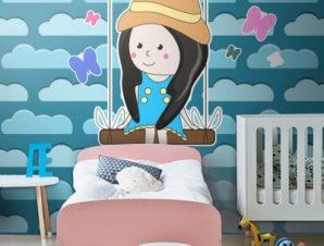Κοριτσάκι σε κούνια Παιδικά Ταπετσαρίες Τοίχου 100 x 100 εκ.