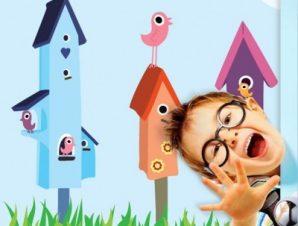 Χαρούμενα πουλάκια Παιδικά Ταπετσαρίες Τοίχου 100 x 100 εκ.