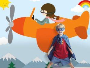 Αεροπλανάκι Παιδικά Ταπετσαρίες Τοίχου 84 x 119 cm