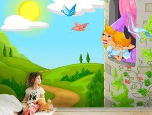Πριγκίπισσα στο παράθυρο Παιδικά Ταπετσαρίες Τοίχου 100 x 100 εκ.