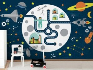 Διάστημα Παιδικά Ταπετσαρίες Τοίχου 100 x 100 εκ.