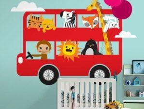 Ζωάκια σε Λεωφορείο Παιδικά Ταπετσαρίες Τοίχου 82 x 123 cm