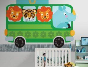 Πράσινο λεωφορείο με ζώα Παιδικά Ταπετσαρίες Τοίχου 100 x 100 εκ.