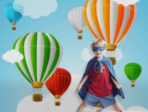 Αερόστατα στον ουρανό Παιδικά Ταπετσαρίες Τοίχου 100 x 100 cm